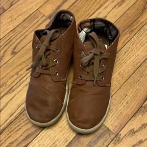Brown big boys toms leather short boot shoes
